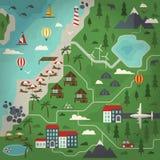 Illustration för sommarparadislägenhet Royaltyfri Illustrationer