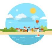 Illustration för sommarsjösidasemester Arkivfoto