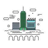 Illustration för stadsarkitekturvektor Stads- landskap med skys Royaltyfri Bild