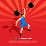 Illustration för stark man för cirkus isometrisk royaltyfri illustrationer
