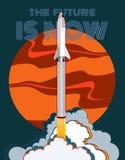 Illustration för stil för vektor för raketrymdskepp lanserande retro Det rött vektortecknad filmrymdskeppet som isoleras och, för stock illustrationer