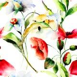 Illustration för stiliserade vallmo- och pingstliljablommor Arkivfoton