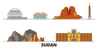 Illustration för Sudan plan gränsmärkevektor Sudan linje stad med berömda loppsikt, horisont, design vektor illustrationer
