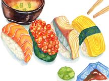 Illustration för sushi för foods för vattenfärg japansk hand dragen royaltyfri illustrationer