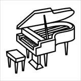 Illustration för symbol och för vektor för pianomusikinstrument royaltyfri illustrationer