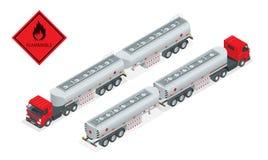Illustration för tankbil för bränslegas isometrisk Lastbil med bränslevektorn För tankfartygsändnings för automatiskt bränsle brä Arkivfoto