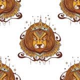 Illustration för tatueringleo vektor Illustrationen för konung leo för att färga sidor Royaltyfri Illustrationer