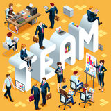 Illustration för Team Isometric People Icon 3D uppsättningvektor Royaltyfri Foto