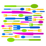 Illustration för tecken för logo för symbol för köksamling kulör Royaltyfri Bild