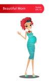 Illustration för tecken för vektortecknad filmhavandeskap med den härliga färgrika gravida damen Royaltyfria Bilder