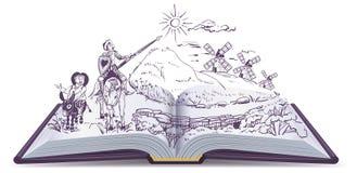 Illustration för tecknad film för Don Quixote öppen bokvektor royaltyfri illustrationer