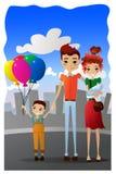 Illustration för tecknad film för vektorfamiljsemester med färgrika familjtecknad filmtecken Royaltyfria Bilder