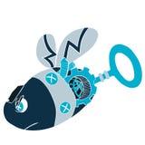 Illustration för tecknad filmgemkonst av en robotgeting eller ett bi - Steampunk stil Royaltyfria Foton