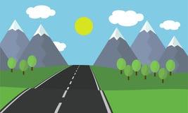 Illustration för tecknad filmlägenhetdesign av det ledande landskapet för asfaltväg med gräs och träd i bergen med snö under blåt Arkivfoto