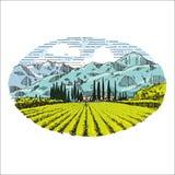 Illustration för teckning för hand för vingårdtappning retro Fotografering för Bildbyråer