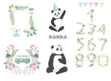 Illustration för teckning för pandagemkonst djur på gulligt djurt berömkort för vit bakgrund stock illustrationer