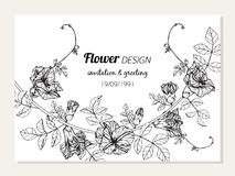 Illustration för teckning för ram för blomma för fjärilsärta för inbjudan- och hälsningkortdesign stock illustrationer