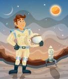 Illustration för tema för astronauttecknad filmutrymme Arkivfoto