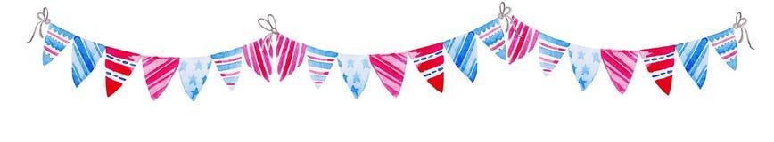 Illustration för 4th Juli VattenfärgBuntingflaggor Beröm av den amerikanska självständighetsdagen Royaltyfri Bild