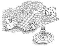Illustration för trappa för sten för landskap för springbrunngrafiksvart vit Arkivbilder