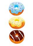 Illustration för tre donuts med den snabba banan Royaltyfri Foto
