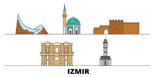 Illustration för Turkiet Izmir plan gränsmärkevektor Turkiet Izmir linje stad med berömda loppsikt, horisont, design royaltyfri illustrationer