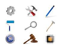 illustration för uppsättning för symbol för uppsättning för jobbhjälpmedelsymbol Arkivbild