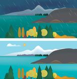 Illustration för uppsättninglägenhetdesign av berglandskapet med sjön och stock illustrationer