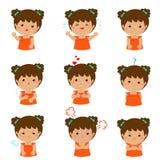 Illustration för uttryck för variationsflickaframsida Fotografering för Bildbyråer