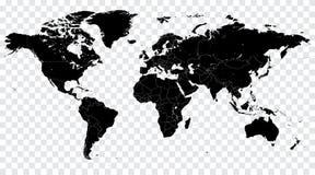 Illustration för världskarta för hög detaljsvartvektor politisk