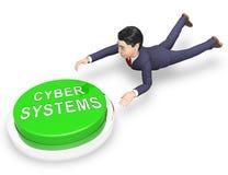Illustration för växelverkan 3d för Bot för fysiska system för Cyber stock illustrationer