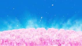 Illustration för vårskoglandskap, abstrakt naturbakgrund, öglasanimering för körsbärsröd blomning, stock illustrationer