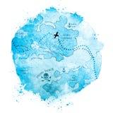 Illustration för vattenfärgskattöversikt Royaltyfria Foton