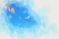 illustration för vattenfärgstilabstrakt begrepp av det färgrika drakeflyget i den blåa himlen Arkivbilder