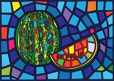 Illustration för vattenmelonfruktmoses målat glass royaltyfri illustrationer