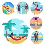 Illustration för vektor för affisch för semestrar för affärstur royaltyfri illustrationer