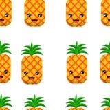 Illustration för vektor för ananas för sömlös modellbakgrund gullig vektor illustrationer