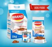 Illustration för vektor för annons för märke för hundmat realistisk
