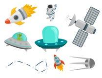 Illustration för vektor för anslutning för raket för kosmonaut för skepp för utrymme för utforskning för rymdskepp för planeter f vektor illustrationer