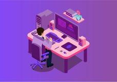 Illustration för vektor för arbetsplats för män för affärskontor stock illustrationer