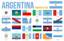 Illustration för vektor för Argentina landskapflaggor på vit bakgrund Landskap av Argentina alla flaggor stock illustrationer