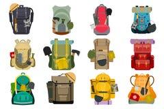 Illustration för vektor för bagage för bagage för fotvandrare för handelsresande för turist- ryggsäck för ryggsäckryggsäcklopp ut vektor illustrationer