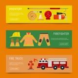 Illustration för vektor för baner för brandsäkerhet Brandbekämpningutrustning och inventariumfirehosevattenpost, larm, polla royaltyfri illustrationer