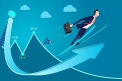 Illustration för vektor för begrepp för affärsman Klassa erfarenhet, expertisinkomst, vinst, framgång, framsteg upp Royaltyfri Bild