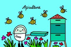 Illustration f?r vektor f?r biodlinghand utdragen i tecknad filmstil M?n annalkande honung och bin omkring stock illustrationer