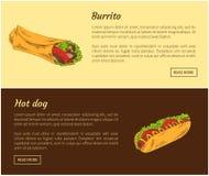 Illustration för vektor för burrito- och varmkorvmatuppsättning vektor illustrationer