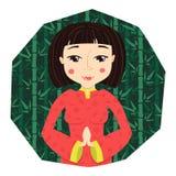 Illustration för vektor Cartoonchinese för ung kvinna royaltyfri illustrationer