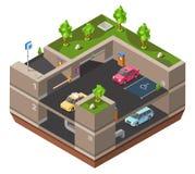Illustration för vektor 3D för parkeringsplats isometrisk för konstruktionsdesign av bilar, parkomattestpunktet och riktningsmark royaltyfri illustrationer