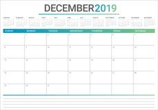 Illustration för vektor för December 2019 skrivbordkalender royaltyfri illustrationer