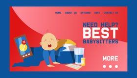 Illustration för vektor för design för Babysittersbanerrengöringsduk Spela med gråtlilla barnet och att behandla som ett barn Upp vektor illustrationer